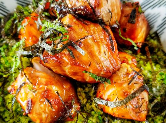 Sticky salmon on broccoli rice
